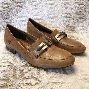 Born Leather Loafers with Silver Buckle